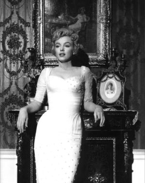 A black and white photograph of Marilyn Monroe, originally a promotional photograph from The Prince and The Showgirl