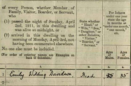 Excerpt from the 1911 census document showing Emily Davison as resident at the House of Commons