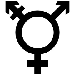 transgender symbol in black on a white background
