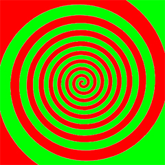 Image -  interlocking red and green spirals
