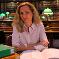 Programme Name: The Ascent of Woman - TX: n/a - Episode: n/a (No. n/a) - Picture Shows: Dr. Amanda Foreman in the National Library, Paris.  - (C) Silver River Productions - Photographer: *