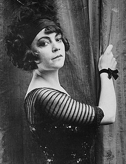 Danish actress Asta Nielsen in her dress as Stella on the set of the danish silent movie The Black Dream
