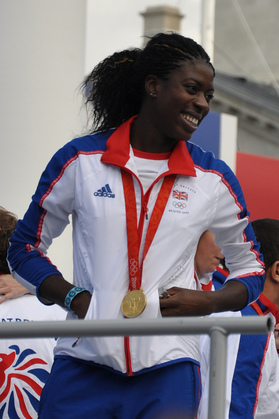 A photograph of Christine Ohuruogu, who won a gold medal for Britain in the women's 400m at the Beijing Olympics