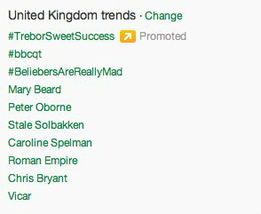 Twitter #bbcqt trending topics screenshot