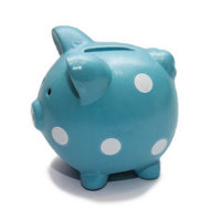 Blue-piggy-bank-with-white-dots