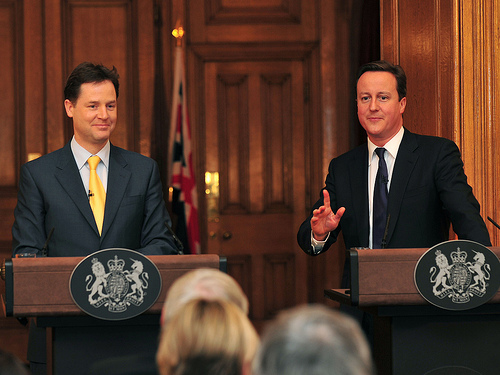 David Cameron and Nick Clegg at an end of year press conference.jpg