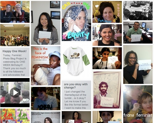 A patchwork quilt of photos of self-identified feminists
