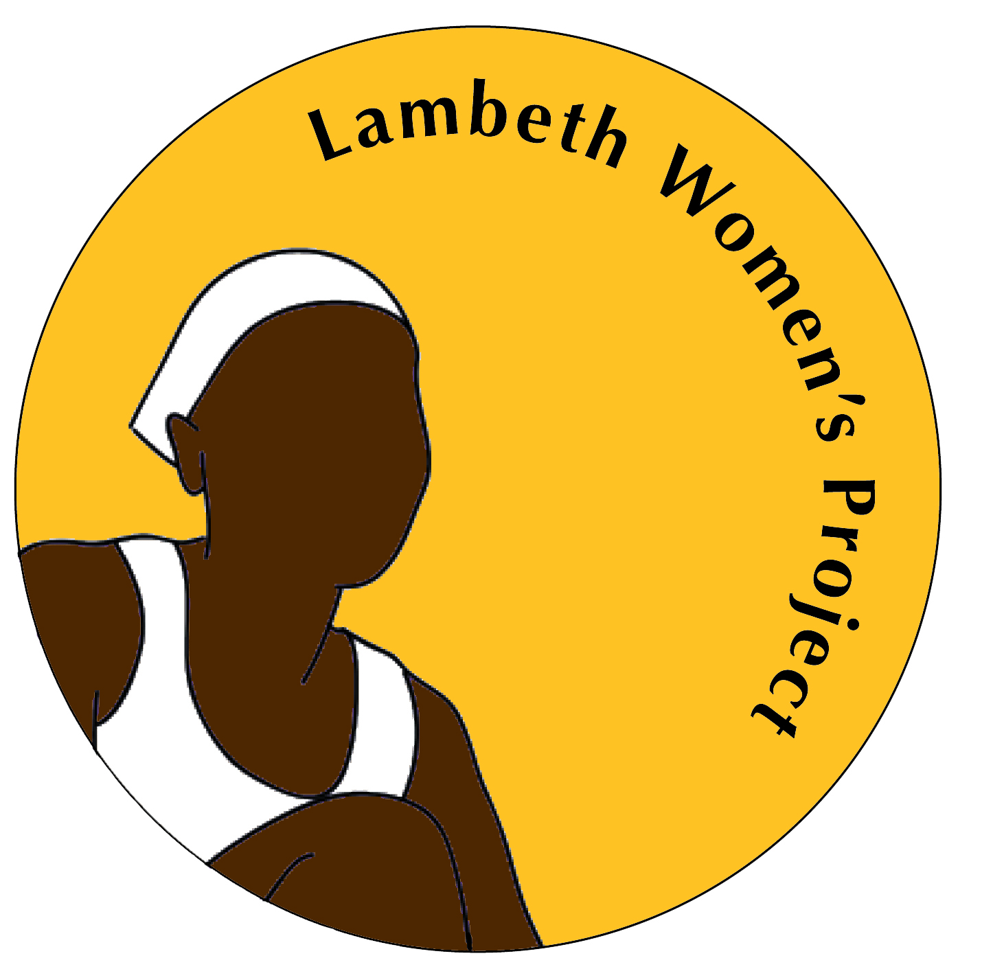 LWP logo: a yellow circle with the outline of a black woman on the left and the name of the project on the right.