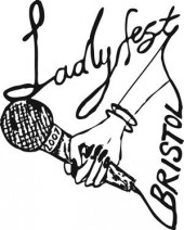 Ladyfest Bristol promo showing a drawing of a hand holding a microphone