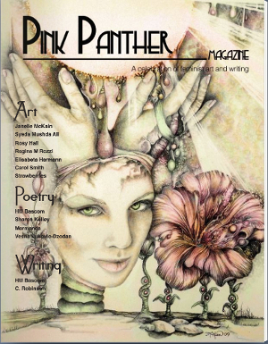Pink Panther 13.jpg Cover of magazine showing a drawing of a woman's head growing from roots in the ground, with hands emerging from the top of her head and touching a necklace behind her. A large flower appears to her left with four roots under it and a