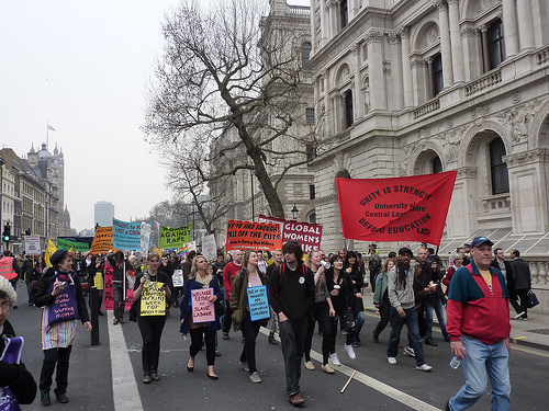 Image from 26 March protest against cuts