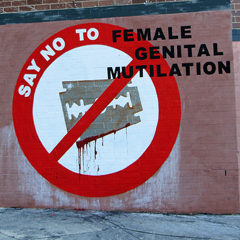 This is a photo of a graffiti which shows an image of a blood-stained razor blade on a white background within a red 'prohibited' pictogram (a circle with a diagonal line across it). The words 'Say no to female genital mutilation' have been overlaid by the artist. The image is from Newtown Graffiti's Flickr photostream and has been cropped and resized by Helen in accordance with the Creative Commons Attribution 2.0 Generic license.