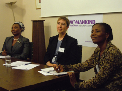 Bernice Sam of WILDAf, Womankind Chair Julie Ashdown, Margaret Brew Ward (Gender Centre)