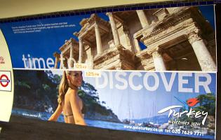 Advert for Turkey showing woman in bikini looking over her shoulder