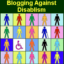 blogging against disablism logo: a square with lots of different coloured outlines of people, one using a wheelchair and one with a stick