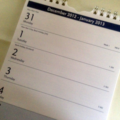 Last page of a wall calendar showing the week 31 December 2012 - 6 January 2013
