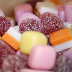 A close-up photograph of some Dolly Mixture sweets