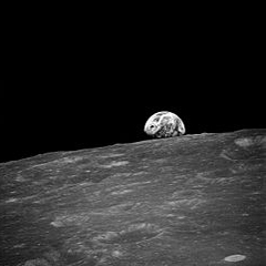 This image is the first photograph taken by humans of Earthrise during Apollo 8. It was found at Wikimedia Commons.