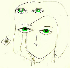A Picasso style drawing of a woman's face with two sets of green eyes
