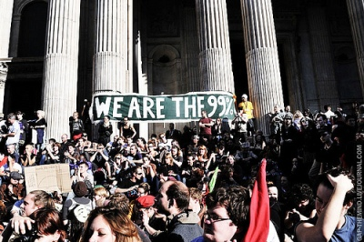 occupylsx general assembly and banner reading we are the 99%