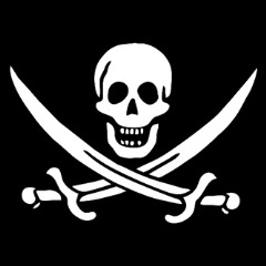 white skull and crossbones on a black background