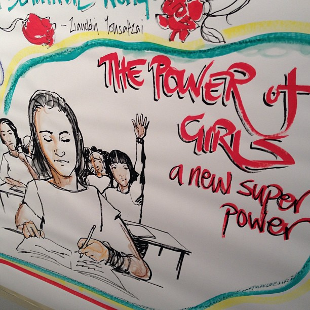 The power of girls - a new superpower. A pen drawing of girls in a classroom.