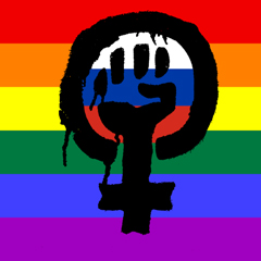 Composite image of the 'feminist fist' symbol, the Russian flag and the rainbow pride flag by Helen G for www.thefword.org.uk. If using elsewhere, please ensure correct attribution.