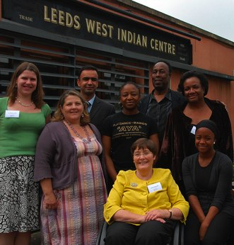 Anne Begg, Vice-chair, Diane Abbott MP, Jo Swinson MP, Ann Cryer MP meet with members of the Leeds community outside the West Indian Centre during a visit by the Speaker's Conference to the city. This image is subject to parliamentary copyright.