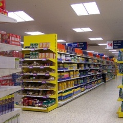 photo of shelves in an empty Tesco