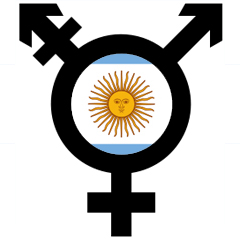 Transgender symbol against a background of the Argentinian flag