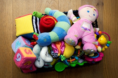 colourful box of toys