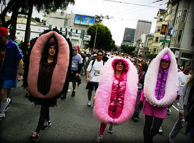 People wearing vulva outfits in a race