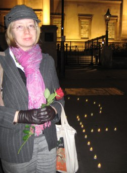 Catherine at vigil, photo by Sarah Barnes